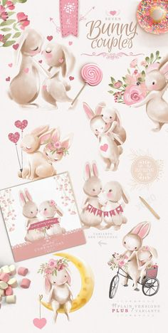 Diy Pinata Discover Bunnies In Love Clipart - bunny cute easter clipart baby animal floral flowers vintage valentine scrapbooking love watercolor Clipart Baby, Couple Clipart, Cute Bunny, Adorable Bunnies, Baby Bunnies, Bunny Drawing, Floral Doodle, Baby Clip Art, Doodle Designs