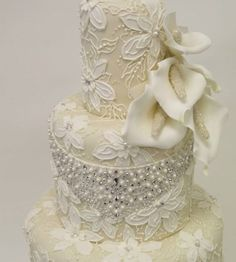Elegant Lace & Pearls Wedding Cake