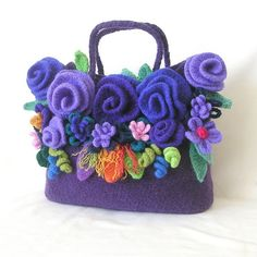 Crochet and felted flowers handbag. Go-Go-Gorgeous!