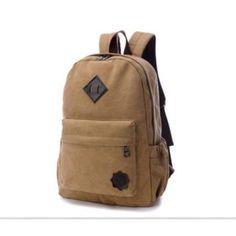 Men's Vintage Canvas Backpack School Rucksack Laptop Shoulder Sport Bag Khaki