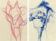 Eva Hesse - Untitled  ink and colored pencil on paper