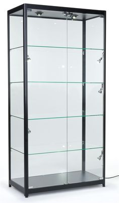 Tempered Glass Curio Cabinet With 8 Halogen Lights, 78 x 40 x Free-Standing, Locking Hinged Doors, Floor Levelers And 4 Green Edge Glass Shelves - Black, Aluminum Trophy Cabinets, Cabinet, Glass Shelves Kitchen, Glass Shelves, Glass Curio Cabinets, Door Glass Design, Glass Display Shelves, Elegant Doors, Glass Cabinets Display