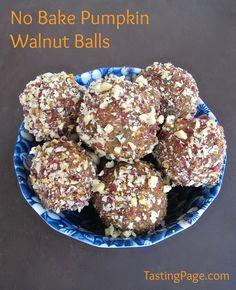 No bake pumpkin walnut balls - gluten free with no refined sugar, egg or flour