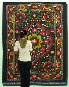 unusual uzbek silk embroidery large suzani by easttreasures, $164.00