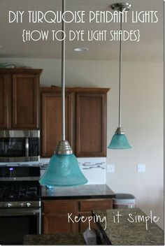 Adding color to plain glass light shades....very cool.