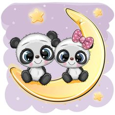 Two cartoon pandas are sitting on moon vector image on VectorStock Cartoon Cartoon, Kids Cartoon Characters, Panda Wallpapers, Cute Cartoon Wallpapers, Cute Panda Drawing, Cute Panda Wallpaper, Moon Vector, Bunny Painting, Unicorn Pictures