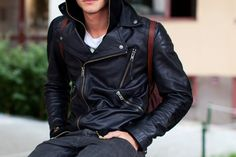 The leather motorcycle jacket.