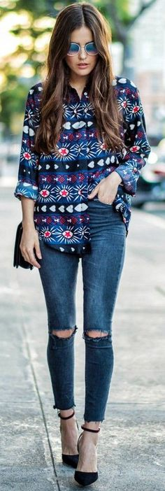 Statement Printed Blouse + Jeans                                                                             Source