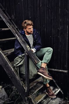25 Stylish Hot Guys In Stripes -- Green Pants and Red Wing Boots -- Mens Style -- Via Kuchenbaeckerin photo 6-25-Stylish-Hot-Guys-In-Stripes...