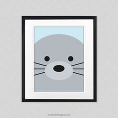 Nursery Decor: Arctic Seal Wall Art, Wall Decorations / Posters for Baby Room and Kids Rooms, Cute Animal Posters as Minimalist Artwork