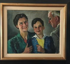 """Eugen Spiro, """"Mother, Son, and Father"""", New York 1946, Oil on Canvas"""
