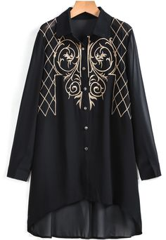Black+Long+Sleeve+Embroidered+Dipped+Hem+Blouse+22.67