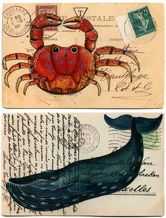 Drawings on vintage postcards? Cool.