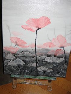 I painted this for a friend to go in her bedroom - Pink Poppies on Black n White