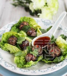 Taiwanese Meatballs with Little Gems and Sweet Chilli Sauce - Ching-He Huang Chinese Cooking
