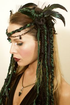 headdress, headdresses, wig, dreads, dreadfalls, tribal, tribal headdress, goth, gothic, witch, witchy, goddess, gypsy, festival wear, burlesque, faery, fairy, faerie, fantasy, burningman, queen, woodland faery, nymph, lotuscircle, www.etsy.com/shop/lotuscircle