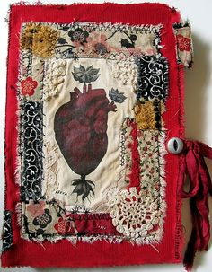 Art Journals - Anatomical Heart...stitched