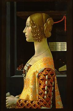 Giovanna degli Albizzi Tornabuoni, c. 1488/1490, tempera on panel. The coral beads in the background and Giovanna's hairstyle are similar to Selvaggia's portrait. Giovanna died at a young age from child birth and was praised for her virtue and her ability to produce a healthy heir to her husband. She was considered an icon for other Florentine women.