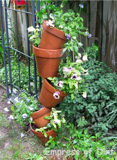 Tipsy Pot Instructions: A Charming Optical Illusion For The Garden ... another take on vertical gardening but a dash of garden art at the same time. Simple tutorial to follow. | The Micro Gardener