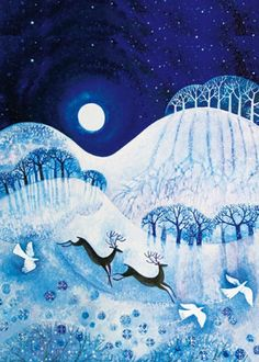 Buy Museums and Galleries Country Christmas Cards, Assorted, Pack of 20 from our Christmas Cards range at John Lewis & Partners. Art And Illustration, Christmas Illustration, Naive Art, Moon Art, Winter Solstice, Christmas Art, Country Christmas, Landscape Art, Art Lessons