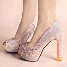 D83500 Kvoll fashion simple rhinestone peep-toe thick high-heeled pump silver