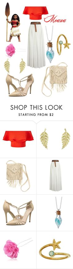 """Moana Disneybound"" by msmith22 ❤ liked on Polyvore featuring Miss Selfridge, Jennifer Meyer Jewelry, H&M, SJP, Disney, Chicnova Fashion, Alex and Ani, disney, disneybound and moana"