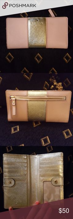 Kate Spade pink and gold travel wallet Only has been used a handful of times and is in like new condition. No marks or scratches and goes with the Kate Spade travel purse. kate spade Bags Wallets