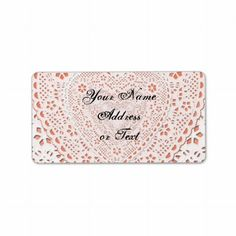 White & Coral Lace Fabric Image Background Personalized Address Label by IgotYourBack shipping to Pinole, CA