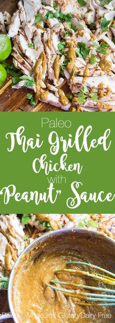 """Paleo Grilled Thai Chicken & """"Peanut"""" Sauce   paleo recipes   grilled chicken recipes   thai recipes   perrysplate.com"""