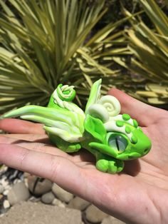 Polymer Clay Green and Glow In the Dark Dragon by AetherCreations on Etsy
