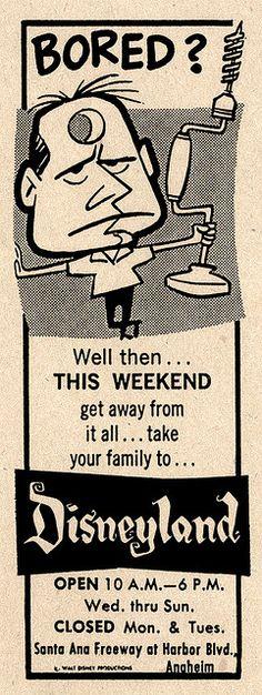 1963 Newspaper Ad for Disneyland by Miehana, via Flickr