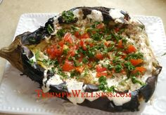 Roasted Eggplant Spread with Garlic, Pepper and Onions ... serve with ...