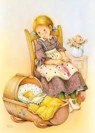 a postcard by Lisi Martin. PR-kortti, printed in Spain, Holly Hobbie, Vintage Cards, Vintage Images, Creation Photo, Spanish Artists, Cute Illustration, Vintage Children, Clipart, Cute Drawings