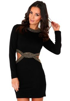 Farera Long Sleeve Cut Out Embellished Bodycon Dress