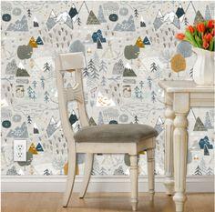 Chico aventura vivero Wallpaper - mapa de Max (gris) por Nouveau bohemio - Spoonflower Custom impreso extraíble Self adhesivo fondos rodillo