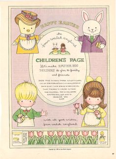Joan Walsh Anglund Paper Dolls: Easter Children's Pages History Of Paper, Joan Walsh, Missing Missy, Jesus Is Risen, Mccalls Patterns, Doll Patterns, Honey Bunny, Fabric Dolls, Rag Dolls