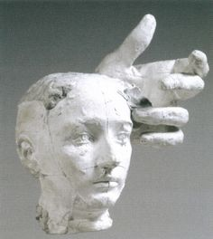 likeafieldmouse:  Auguste Rodin-Assemblage: Mask of Camille Claudel and Left Hand of Pierre de Wissant (ca. 1895)