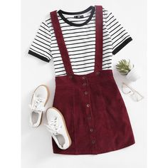 SheIn(sheinside) Button Up Cord Pinafore Skirt ($18) ❤ liked on Polyvore featuring skirts, burgundy, red knee length skirt, red button up skirt, corduroy button down skirt, red corduroy skirt and burgundy a line skirt
