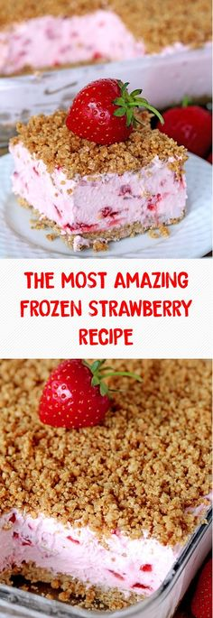 The Most Amazing Frozen Strawberry Recipe Frozendesserts ; das erstaunlichste gefrorene erdbeerrezept frozen desserts The Most Amazing Frozen Strawberry Recipe Frozendesserts ; Frozen Strawberry Desserts, Mini Desserts, Frozen Desserts, Easy Desserts, Cold Desserts, Frozen Fruit, Recipes With Frozen Strawberries, Healthy Strawberry Recipes, Gastronomia