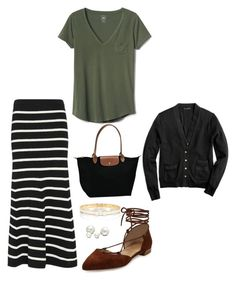 """I know I'm not alone"" by gmazhandu ❤ liked on Polyvore featuring Cardigan, Gap, Stuart Weitzman, J.Crew, Longchamp, Kate Spade and Allurez"