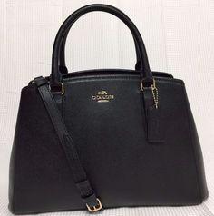 f62946f3427d NWT Coach Small Margot Carryall Black Leather Crossbody Bag Satchel New  Handbag  Coach  Satchel