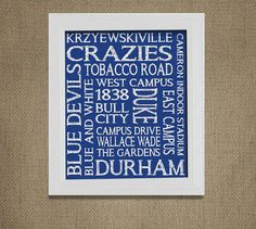 DUKE University Blue Devils Framable Wall Art by MuchTooGraphic
