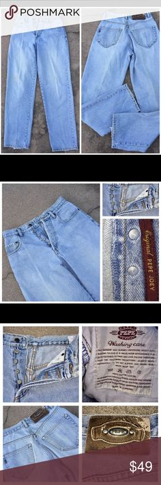 Vintage PEPE JOEY LT BLUE BUTTON FLY JEANS 28 x 33 Vintage PEPE JOEY LT BLUE BUTTON FLY JEANS 28 x 33. Distressed Hem Slight sanding on Pockets and Seams. Please see pictures for more information.                                                  040317-7 Pepe Jeans Jeans