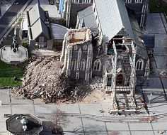 The Cathedral has lost of it's wall and the Rose window was destroyed when it fell into the building. Christchurch New Zealand, Auckland New Zealand, South New Zealand, New Zealand Earthquake, Broken City, Rose Window, 2nd City, My Family History