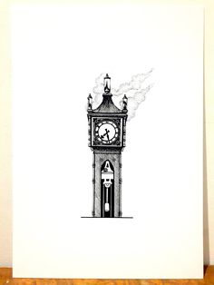 Print - Gastown Steam Clock, Vancouver BC - Original pen and ink illustration by SnowlineArt on Etsy Clock Drawings, Tattoo Drawings, Tattoos, Atlas Sculpture, Ink Illustrations, Illustration Art, Geometric Drawing, Canada Travel, Vancouver