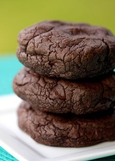 "double chocolate cookie recipe -- aka ""The Chocolate Hamburger"" because these things are so freaking big. Could be halved."