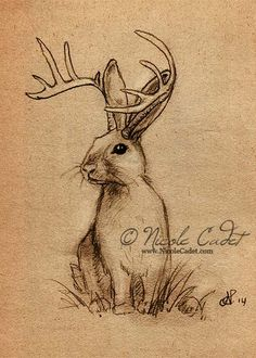 Jackalope Open edition ACEO/ ATC print by NicoleCadet on Etsy