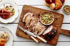 Cider-Brined, Maple-Glazed Pork Loin- Recipe image / Photo by Andrew Purcell, Prop Styling by Alex Brannian, Food Styling by Carrie Purcell