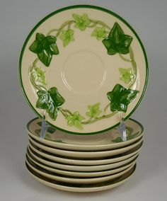 Set of 8 Franciscan Ivy Saucers Vintage & Franciscan California Pottery Ivy Small by BetsyEtsyVintage ...