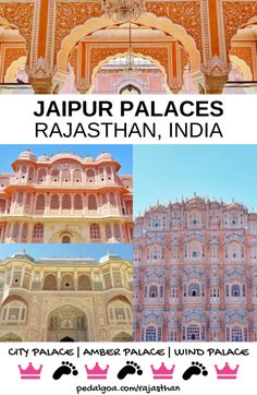 Famous Jaipur Palaces map list, Rajasthan, India. Golden Triangle tour. Hawa Mahal - Wind Palace - Pink Palace, Amber Palace - Amber Fort, Jal Mahal - Water Palace. Pink City, Jaipur. India travel tips, backpacking South Asia. 3 days in Jaipur itinerary, forts, street shopping. Walking around India so wear your best travel shoes! Along with checklist of what to wear in India, what to pack for India packing list, here are the best things to do as a solo traveler and backpacker on a budget!